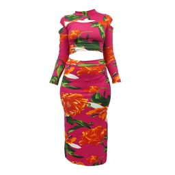 Conjunto Falda y Crop Top Estampada